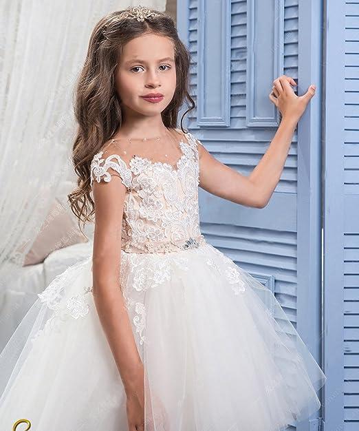 Amazon.com: Vestidos de encaje largo para niñas con diseño ...
