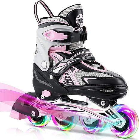 Gonex Pattini in Linea Regolabili per BambiniAdulto,4 Ruote Illumina LED,Inline Skates per Bambina Adulti Donna Ragazzo(Taglia EU 31 42)