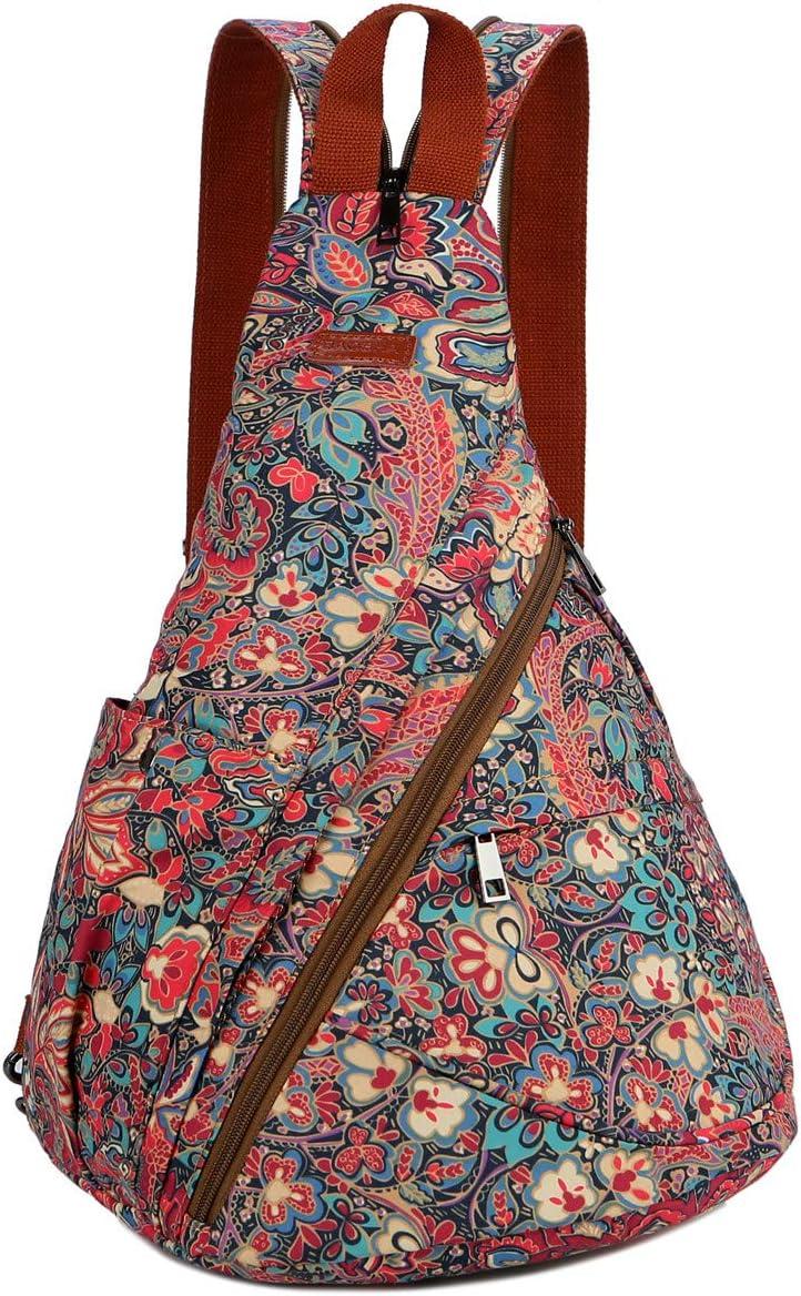BAOSHA Women's Colorful Sling Bag Crossbody Backpack Shoulder Casual Daypack Outdoor Travel Hiking XB-10 HS