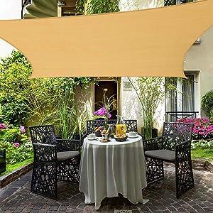 Shade&Beyond 10'x13' Rectangle Sun Shade Sail Sand Color for Patio Lawn Deck Garden Pergola