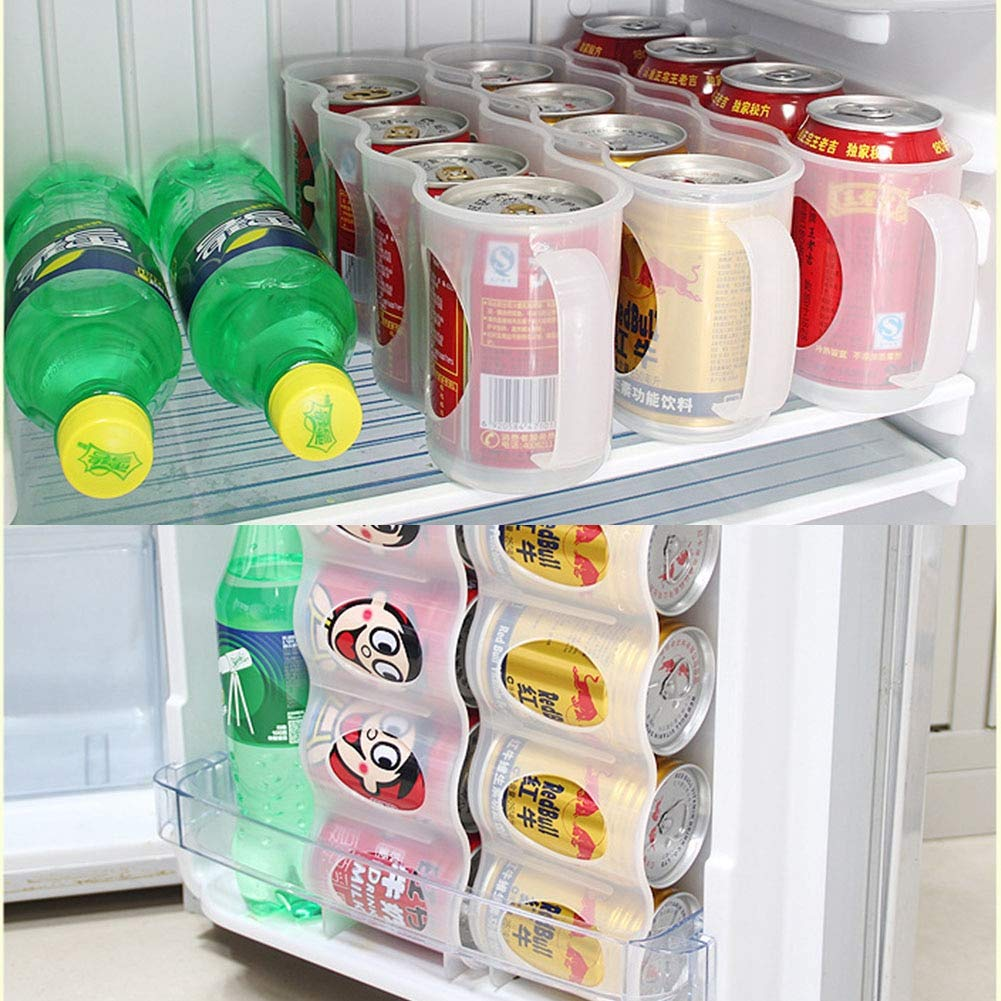Sala-Tecco - Beer Soda Can Storage Box Kitchen Fridge Drink Bottle Holder Fridge Refrigeration Organizer Beer Coke Drink Storage Box