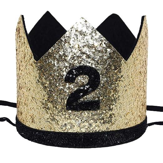 Amazon Maticr Shiny 2nd Birthday Crown Baby Boy Prince Headband Party Supplies Large Gold Black 2 Clothing