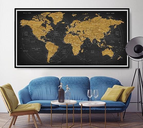 Amazon.com: WORLD MAP [LARGE] Premium Quality Printed Wall ...