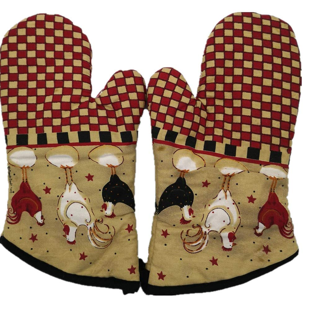 shopinmall Canvas American Country Style Oven Mitt, Deluxe Quilted Liner,1 Pair red