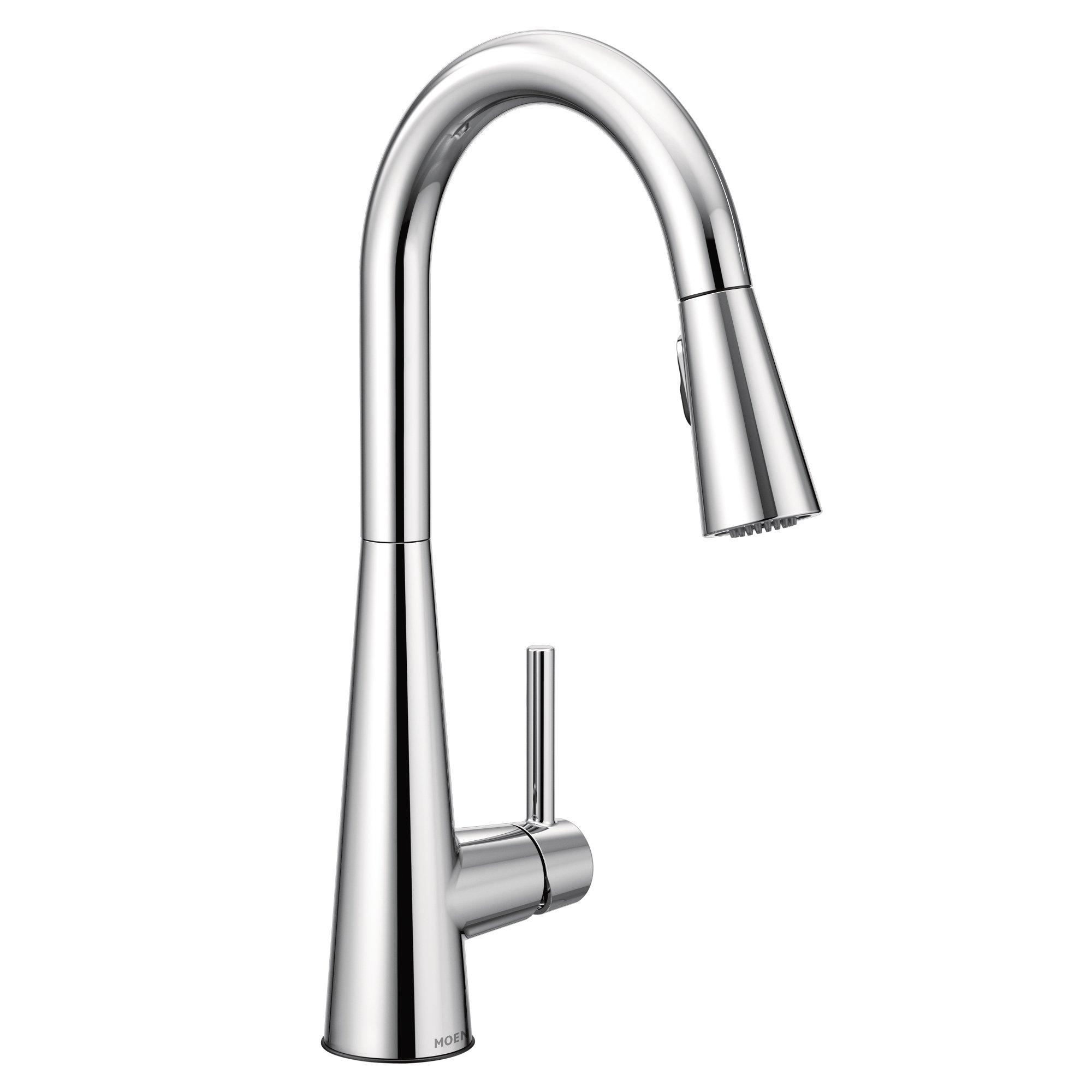 Moen 7864 Sleek One-Handle High Arc Pulldown Kitchen Faucet Featuring Reflex (7864), Chrome