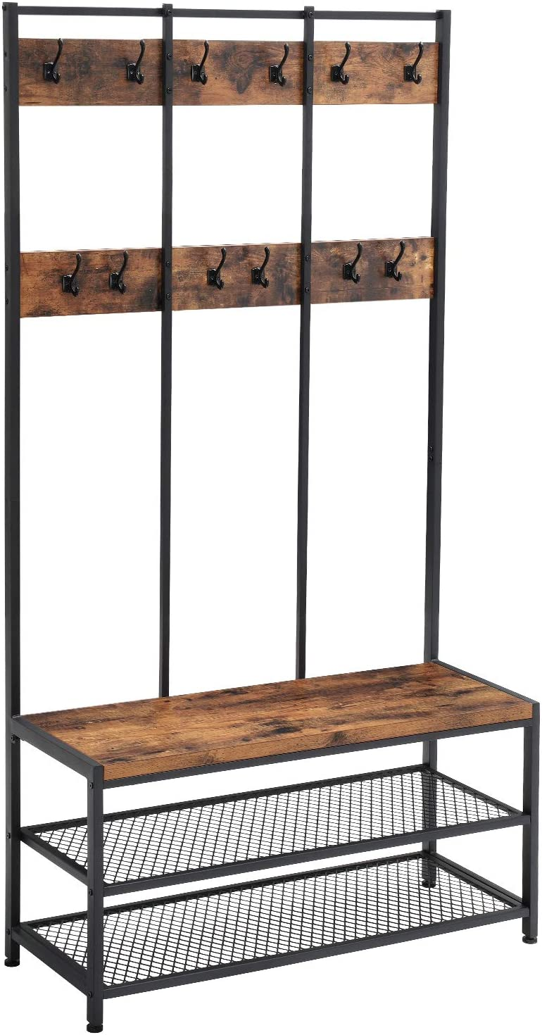 VASAGLE Large Coat Rack Stand, Coat Tree with 12 Hooks and Shoe Bench in Industrial Design, Hall Tree, Multifunctional Hallway Shelf, Office, Bedroom, Rustic Brown and Black HSR86BX