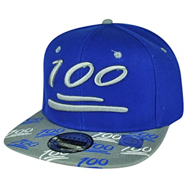 100 One Hundred Snapback Hat Cap Emoji Text Symbol Emoticons Blue