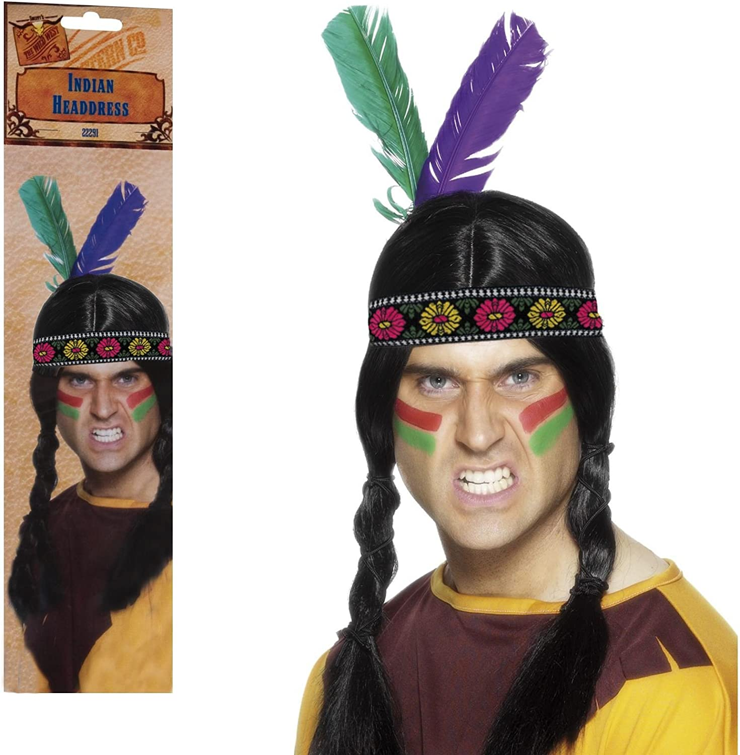 LONG BLACK INDIAN FANCY DRESS WIG WITH HEADBAND /&  RED FEATHER UK