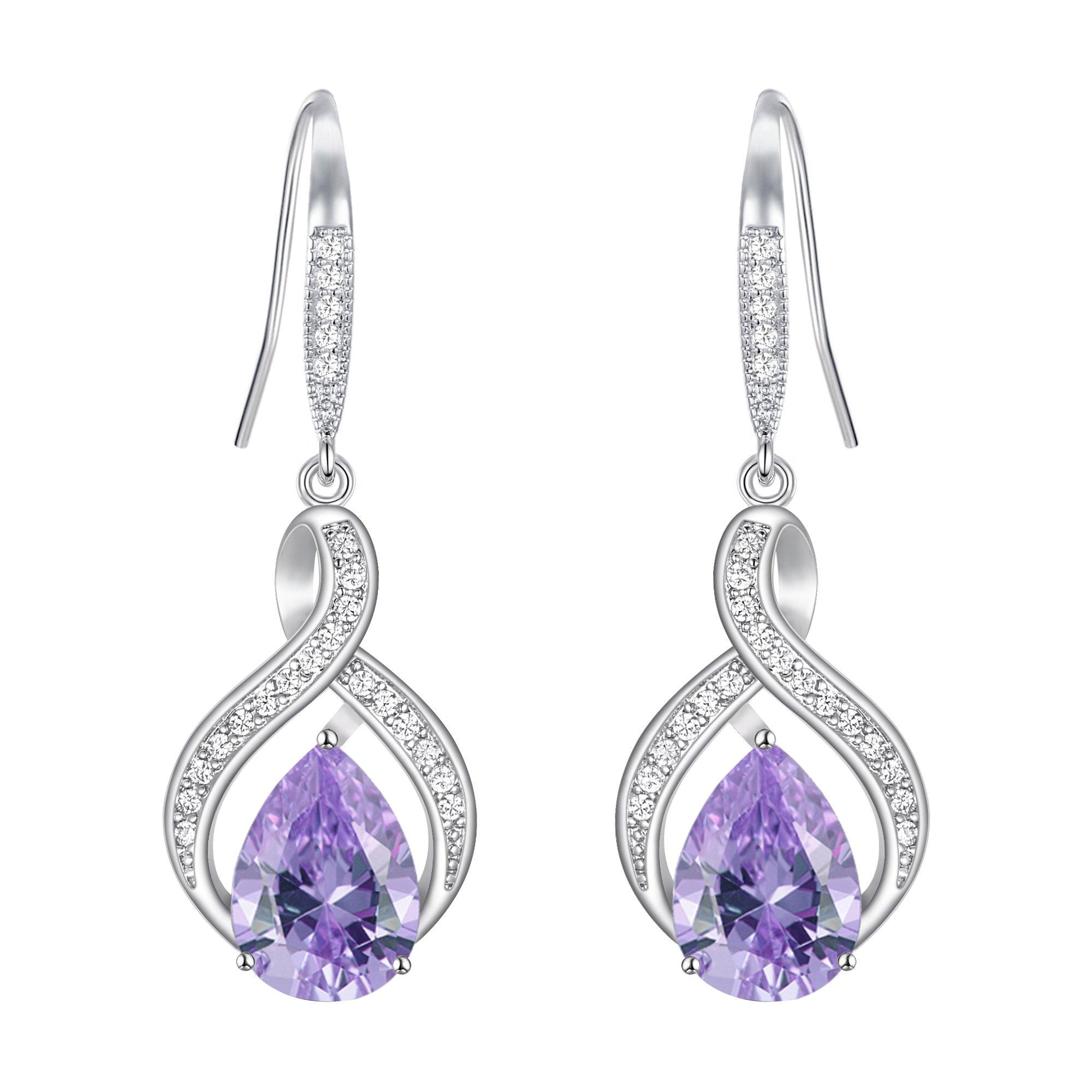 EVER FAITH Zircon Wedding Twist 8-shaped Infinity Teardrop Hook Dangle Earrings Purple Silver-Tone