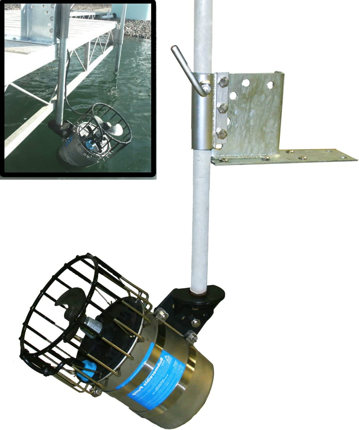 Kasco De-Icer + Universal Dock Pier Mount - 3/4 Hp Deicer with 100ft Power Cord Great for Deicing Lake Pond Marina (3/4HP w/50ft Cord)