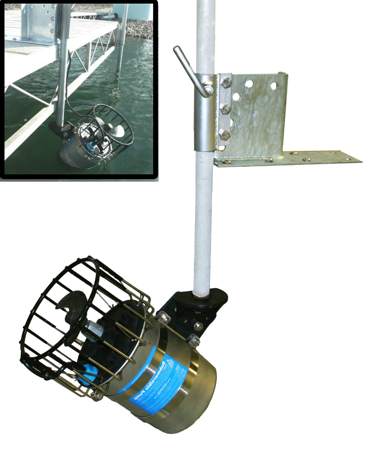 1/2 HP De-icer with Universal Dock & Pier Mount for Winter Lake or Pond Deicing (w/ 25ft cord)