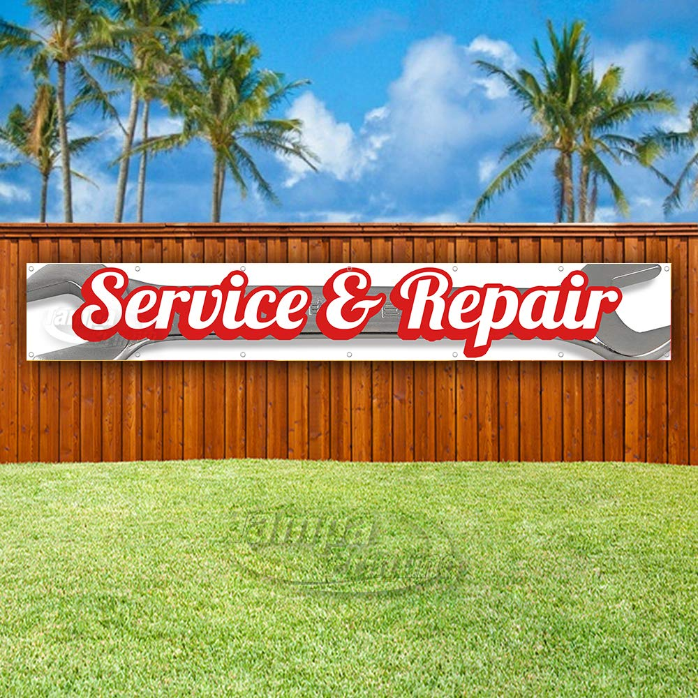 New Advertising Service /& Repair Extra Large 13 oz Heavy Duty Vinyl Banner Sign with Metal Grommets Flag, Store Many Sizes Available