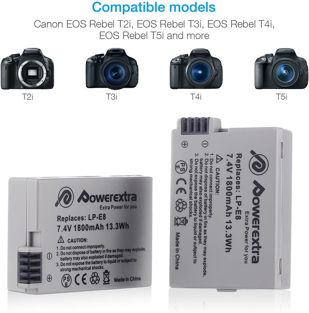 Powerextra 2 Baterías de Repuesto para Canon LP-E8 1800mAh Li-Ion con Cargador Pantalla LCD para Canon LP E8 Canon Rebel T3i T2i T4i T5i EOS 600D 550D 650D 700D Kiss X5 X4
