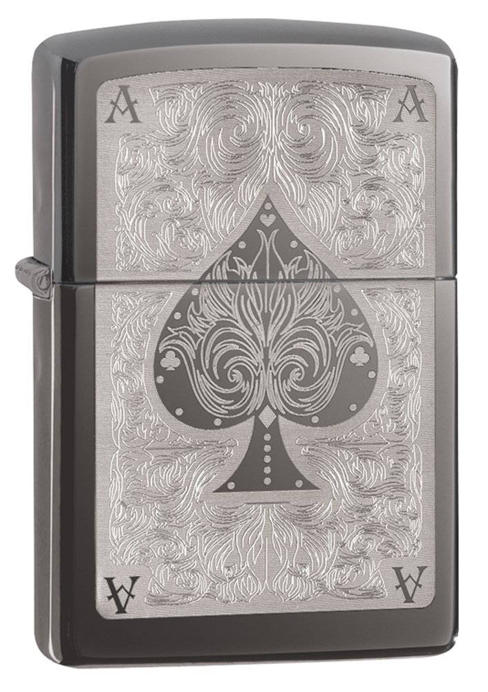 Zippo Spade Card Pocket Lighter, Black Ice