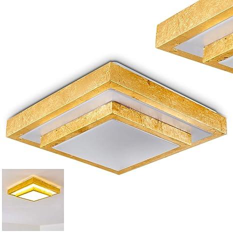 Lámpara de techo LED Sora de 2 plantas con peldaños cepillados en oro - para baño, vestíbulo, salón, vestíbulo, dormitorio - de color blanco ...