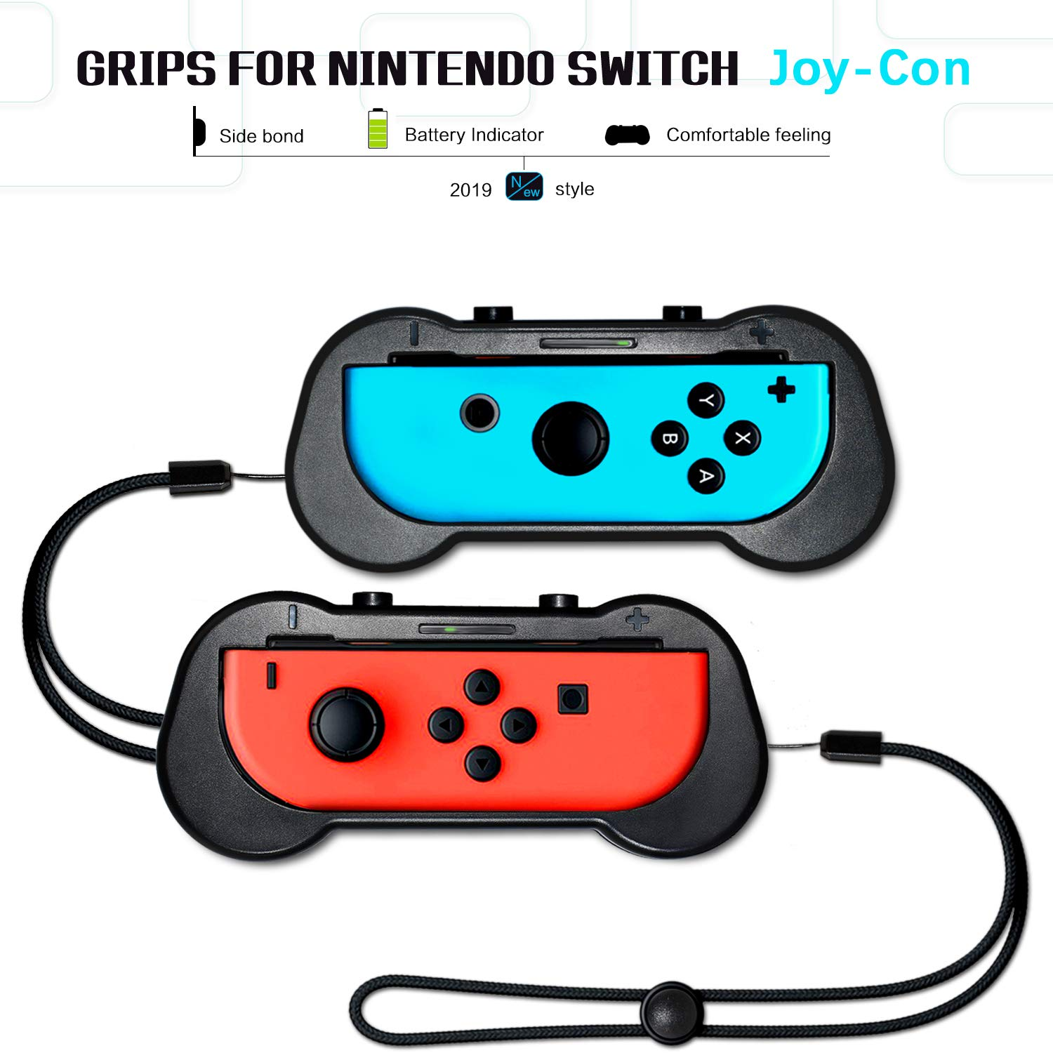 Joy-Con Grips for Nintendo Switch Controllers, Wear-resistant Controller Grips/ Joy-Con Handle Kit/ Thumb Grips ( L& R ) for Nintendo Switch, Game Accessories ( Black, 2Pack) by myjiajia