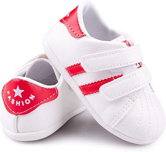 Prewalker Baby Shoes Boys Girls Newborn Infants Leather Crib Soft Sole Sneakers
