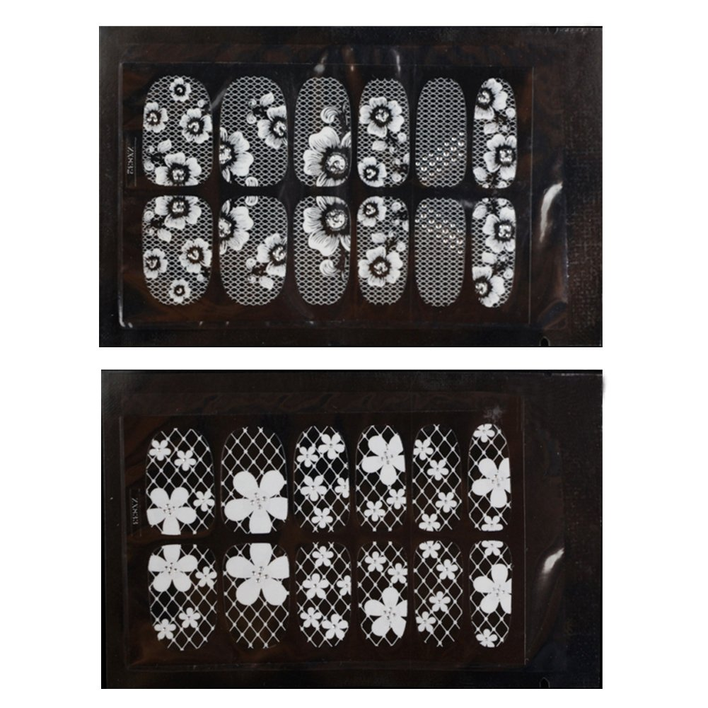 Adesivi Nail Art Decals acqua trasferimento Stamper Manicure White Lace strass stampa fai da te Nail Sticker 2pezzi (9, 10) NaiCasy