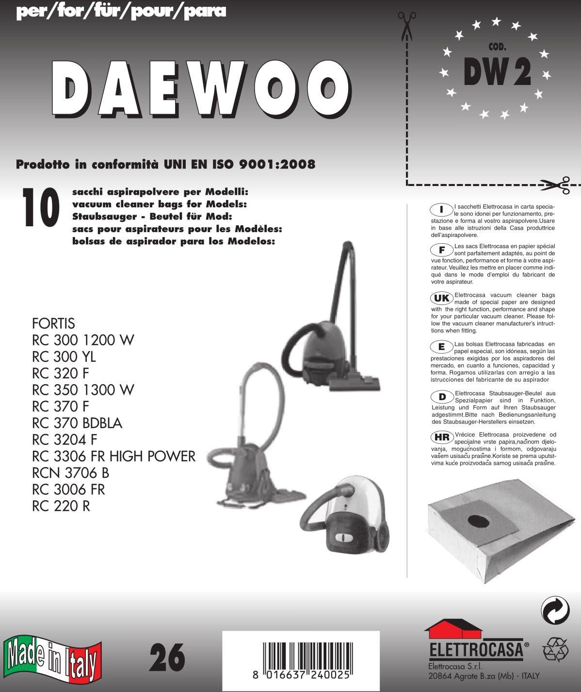 DW 2 bolsas para aspiradora Lote de 10 bolsas de papel: Amazon.es ...