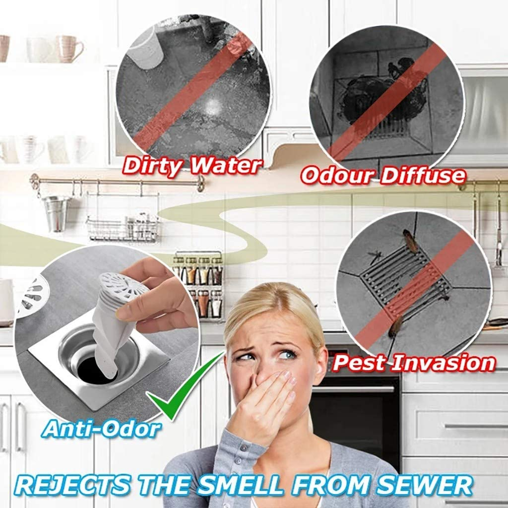 Gelentea Floor Drain Sewer Smell Removal Sealing Ring Set Silicone Core Sewer Pipe Seal Ring Bathroom Washing Machine Tool for Bathroom Kitchen