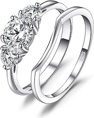 JewelryPalace Bague de Fian/çaille Mariage Alliance Zircon Cubique Pour Femme Fashion en Argent Sterling 925