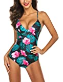 Ekouaer One Piece Swimsuit High-Waist Swimwear Women Monokini Sexy Cross Lace Up Low Back Bathing Suits