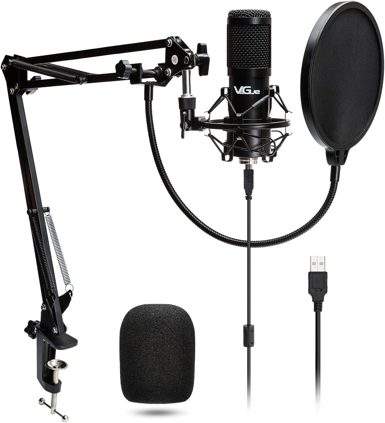 USB Microphone for Computer, Professional PC Microphone with 16 mm Diaphragm, 192KHz/24BIT, Ideal for Singing, Streaming, Podcast, Recording, Gaming, Voice Over