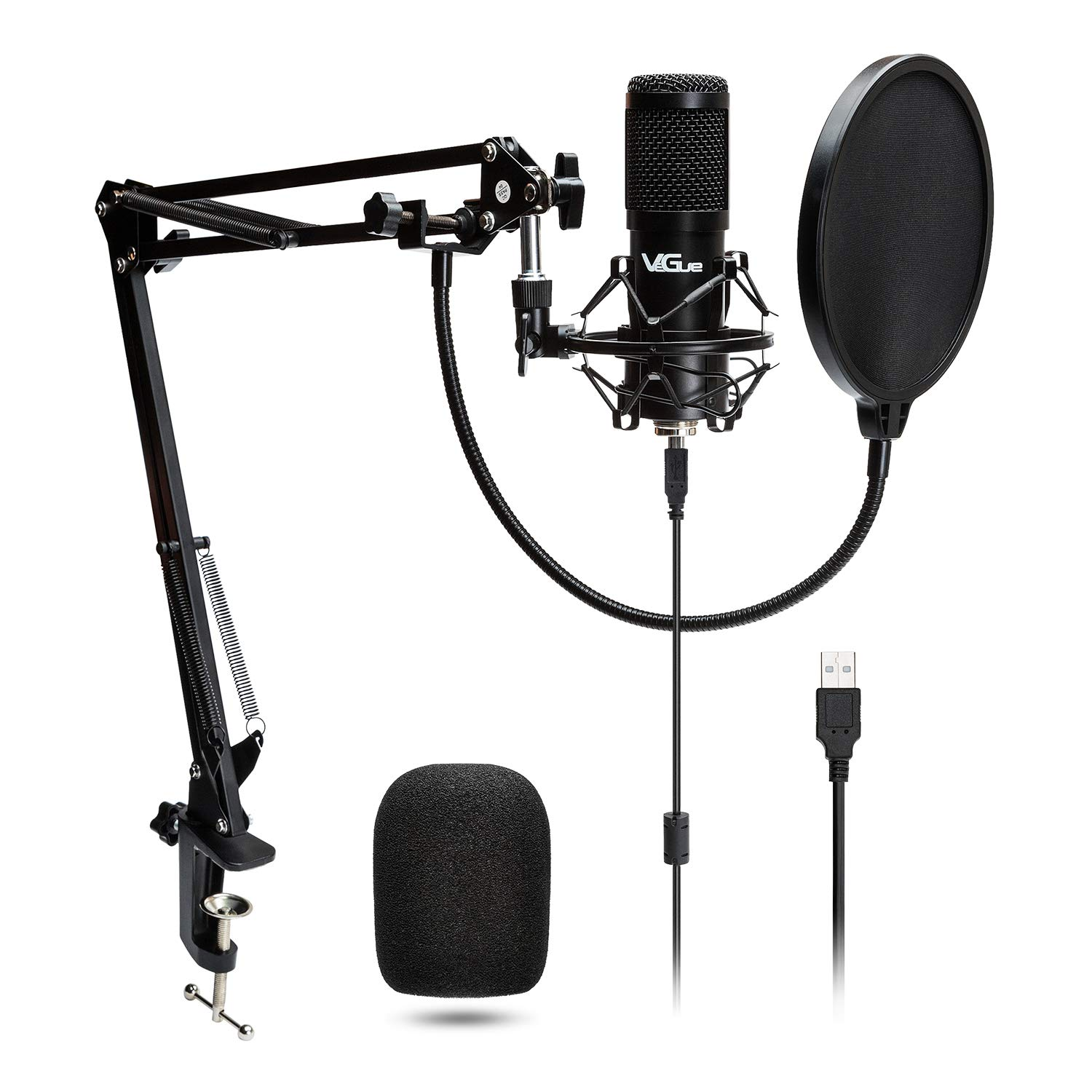 USB Microphone Kit, Professional Computer PC Mic for Gaming, Podcast, Live Streaming, YouTube Recording, Studio Mic Bundle with Adjustment Arm Stand VG-016