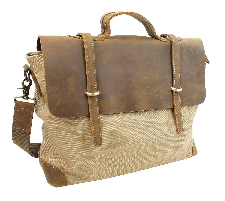 Casual Style Cowhide Leather Cotton Canvas Messenger Bag C41.KK B071S6WTXH