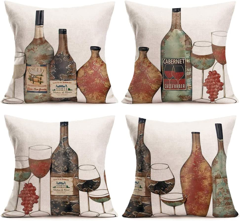 Asamour Set of 4 Decorative Wine Pillow Covers Cotton Linen Cabernet Winery Wine Cup Glass Pattern Throw Pillow Cushion Cover 18''x18'' Wine Cellar Chateau Home Decor Pillows Square Pillowcases