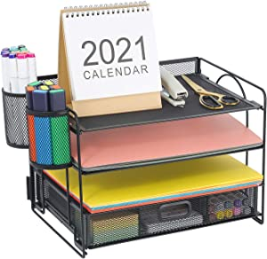 Marbrasse 4-Trays Desktop File Organizer | Paper Letter Tray with Drawer Organizer and 2 Pen Holder | Mesh Office Supplies Desk Organizer for Home Office, Black