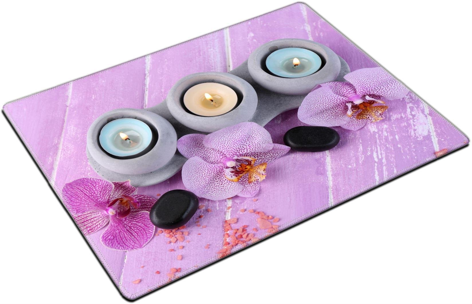 MSD Place Mat Non-Slip Natural Rubber Desk Pads Design: 35235689 Orchid Flowers Spa Stones and sea Salt on Color Wooden Background