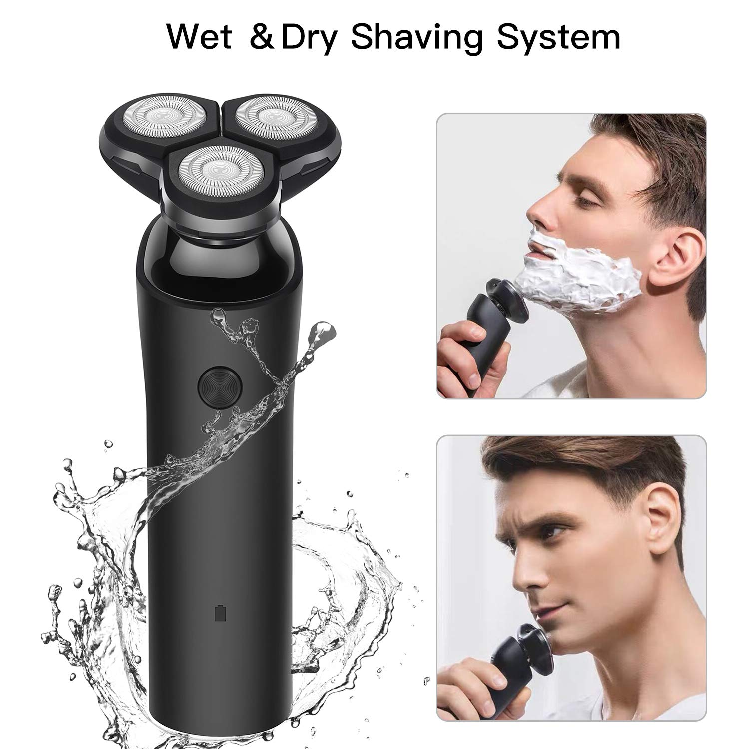 Electric Razor for Men, Cordless Rotary Shavers Rechargeable Wet and Dry Electric Shaver