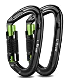 L-Rover Ultra Sturdy Twist Lock Climbing Carabiner Clips, Auto Locking and Heavy Duty Caribeaners, x2/24kN/5400-pound Rating for Hammocks, Rappelling,Working Safely at Height,Camping,Large Size