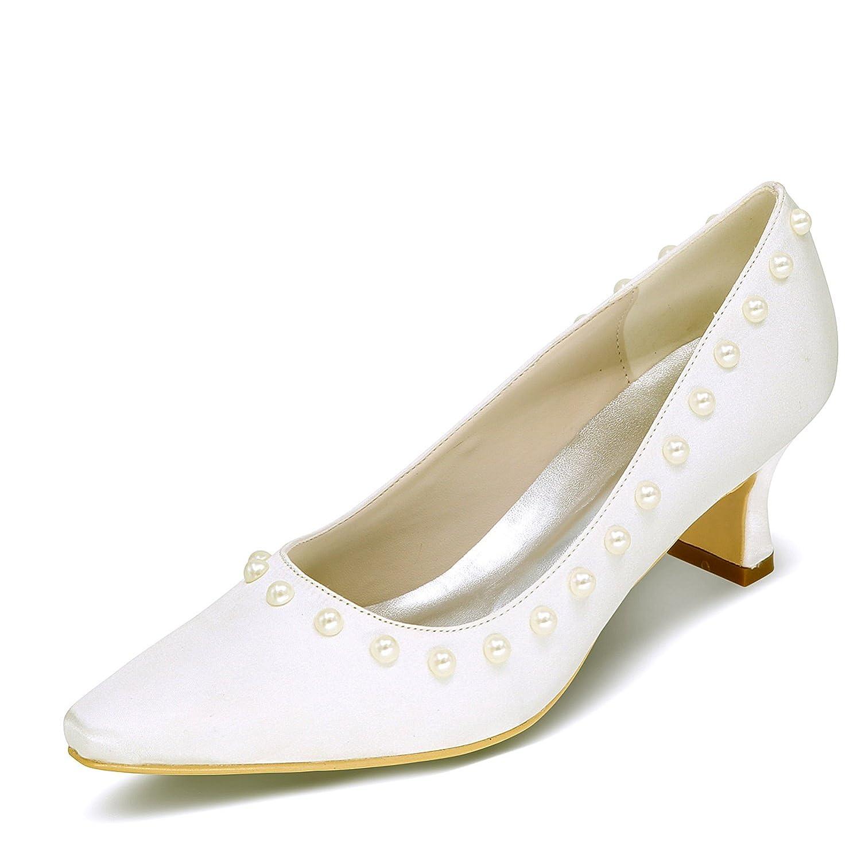 Elobaby Frauen Hochzeit Schuhe Wies Perle Satin Schnalle Klassische cm Größe 35-42 Toe Kitten/6,5 cm Klassische Absatz Ivory f24472
