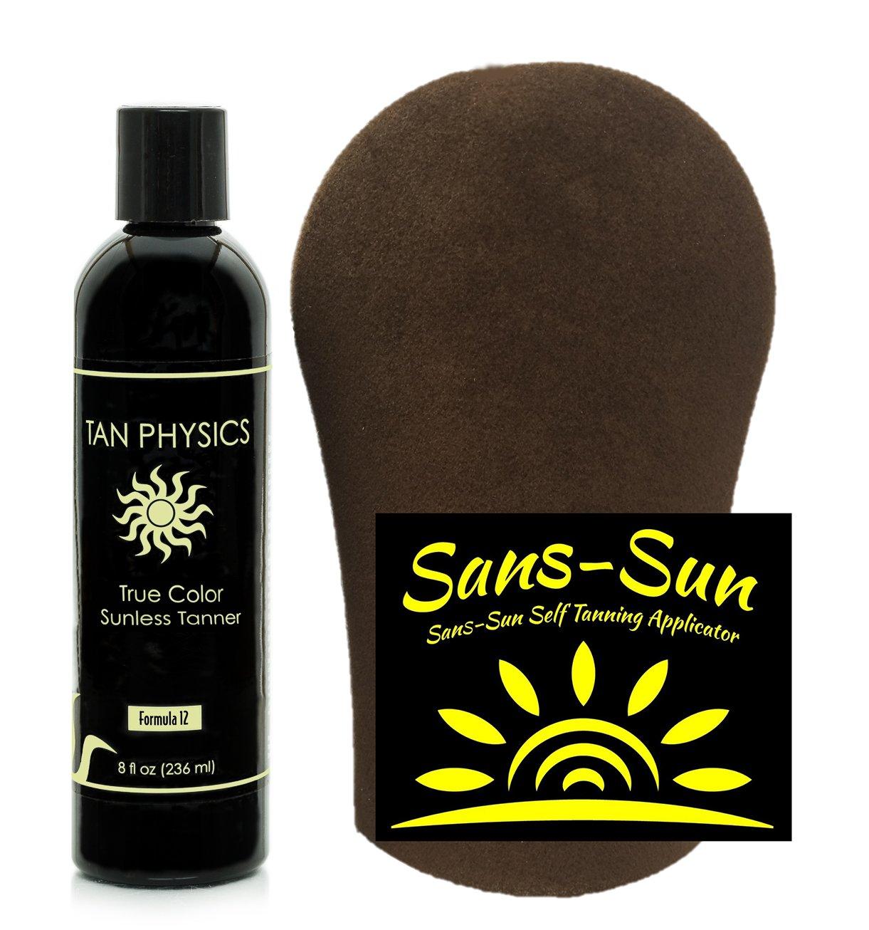Tan Physics True Color Tanner 8 oz w/FREE Tanning Mitt by Sans-Sun