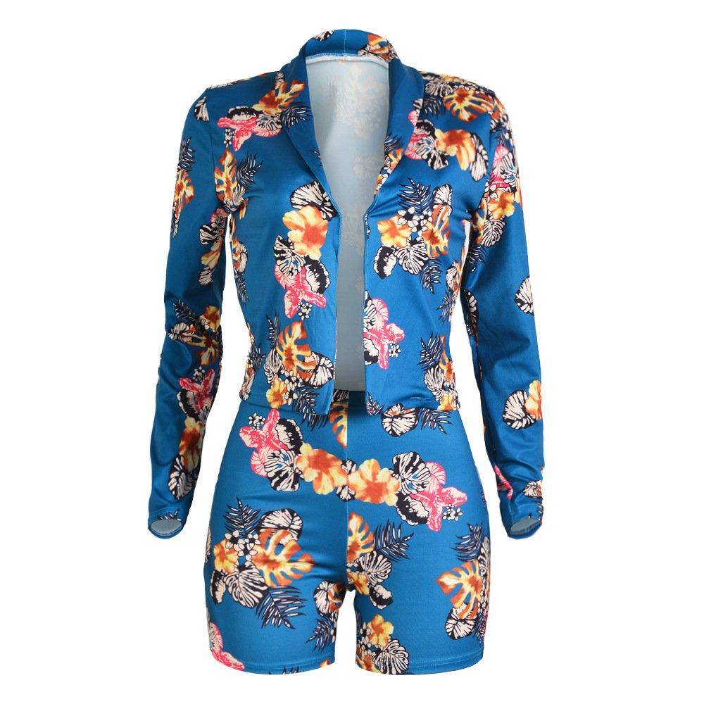 Tracksuit Women Long Sleeve Tropical Floral Blazer Jacket Coat + Shorts 2 Piece Set Suit African Dashiki Slim Fit Blue, X-Large