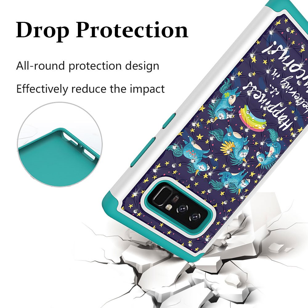 Note 8 Case, Galaxy Note 8 Case, MagicSky [Shock Absorption] Studded Rhinestone Bling Hybrid Dual Layer Armor Defender Protective Case Cover for Samsung Galaxy Note 8 (Unicorns)