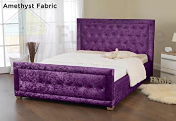 Furniture Expressions Sweet Dreams Galaxy Crushed Velvet Amethyst Fabric Double Bed