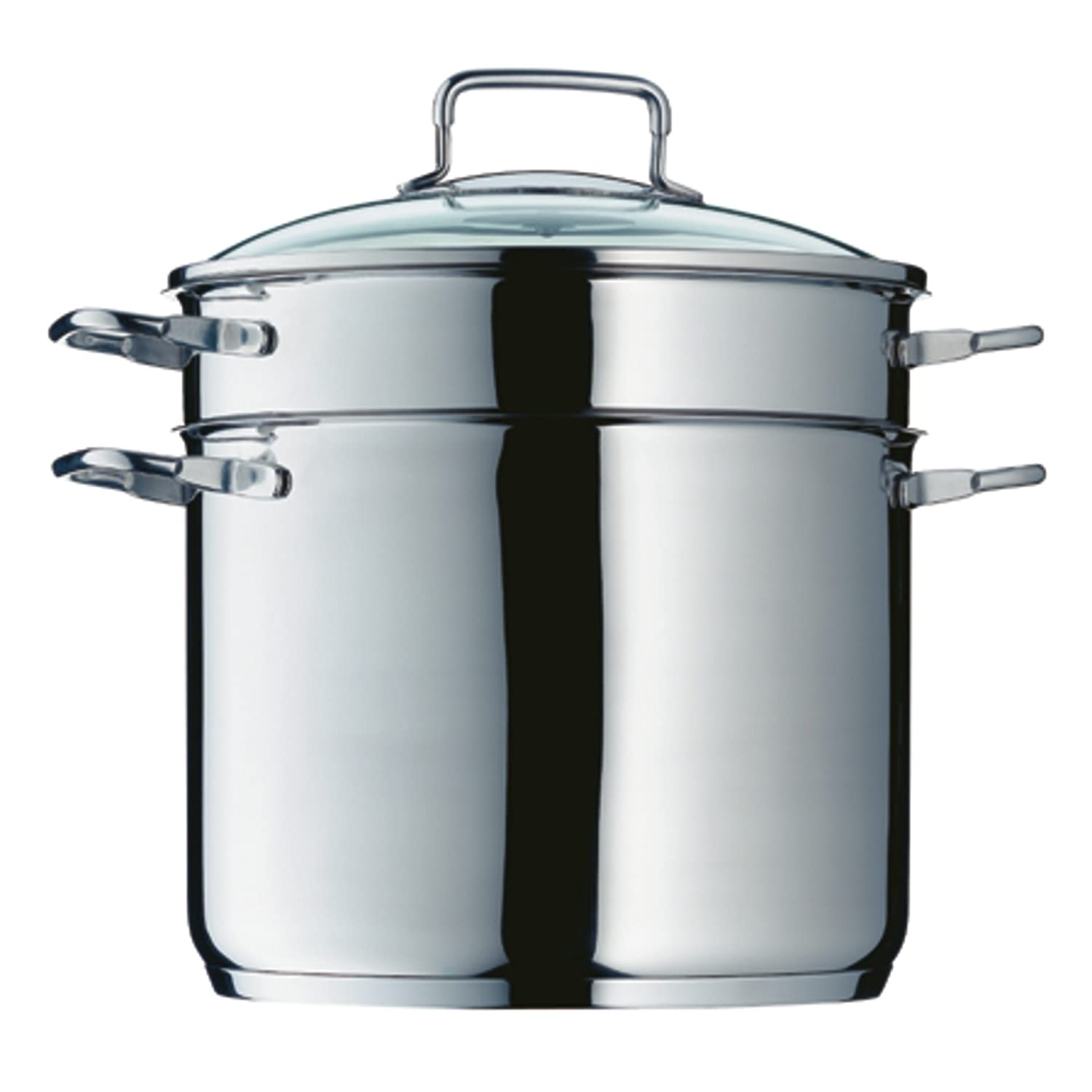 WMF Pasta Pot Ø 24 cm approx. 7l pouring rim glass lid Cromargan stainless steel brushed suitable for all stove tops including induction dishwasher-safe 0724919990 07.2491.9990
