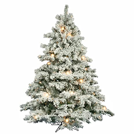Amazon Com Vickerman 65' Flocked Alaskan Pine Artificial  - Vickerman Pre Lit Christmas Trees