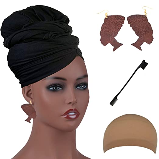 Long Stretch Head Wrap Set- Solid Color African Turban Hair Scarf Tie, Double Sided
