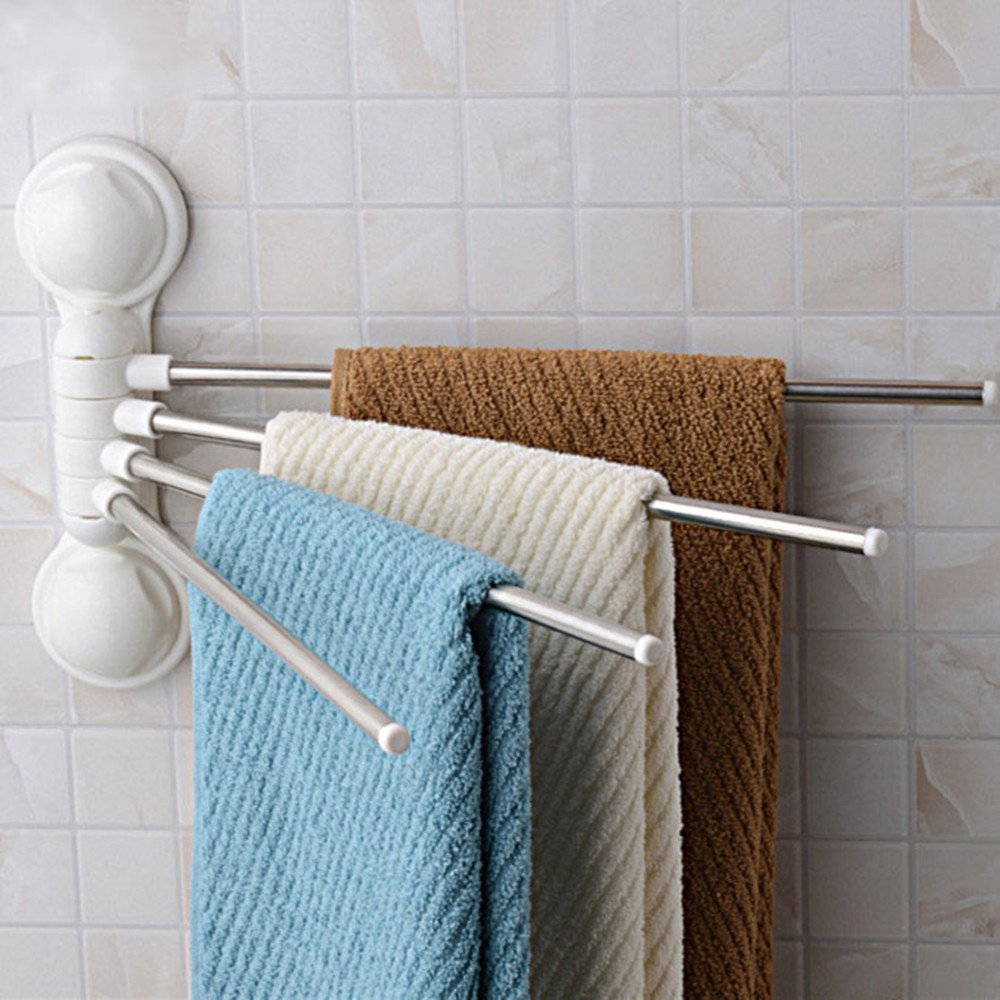 Bathroom Swing Arm Towel Bars 4-Arm Wall Mounted Bathroom Towel Shelf Rail Rack Holder Twist N Lock No Screws Required BE