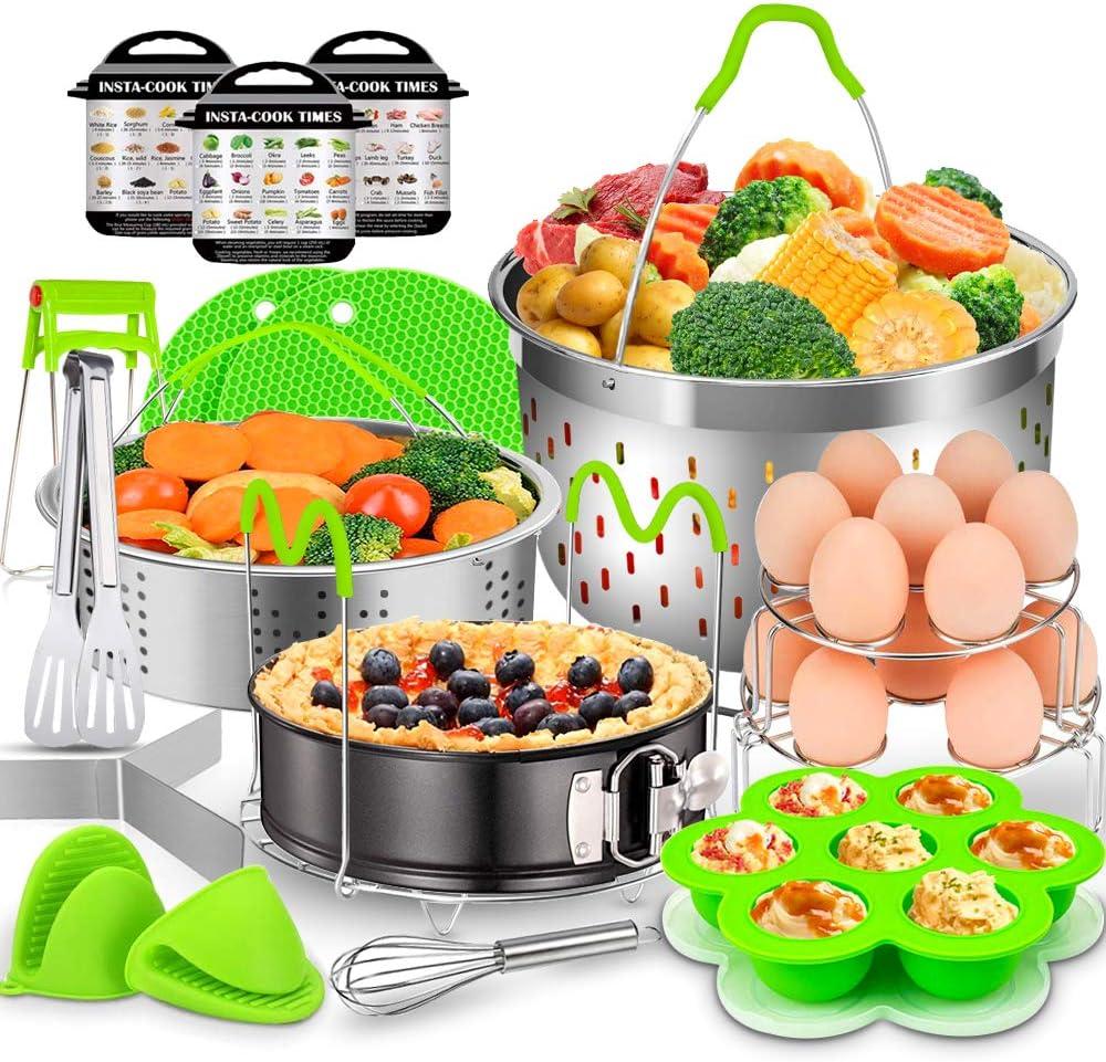 17 Pcs Accessories for Instant Pot, EAGMAK 6, 8 Qt Pressure Cooker Accessories - 2 Steamer Baskets, Non-stick Springform Pan, Egg Bites Mold, Egg Rack, Steamer Trivet, Egg Beater, Oven Mitts (Green)