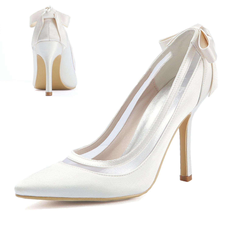 cb437c67732701 ElegantPark Women High Heel Pumps Pointed Toe Bowknots Satin Bridal Wedding  Shoes