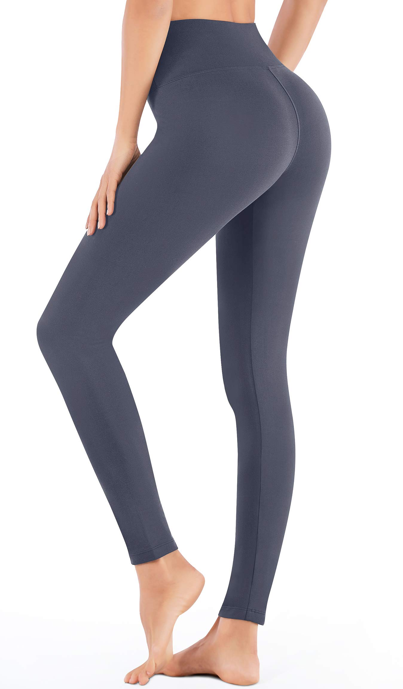 IUGA High Waisted Leggings Tummy Control Yoga Pants with Inner Pocket, Non See-Through Workout Stretch Leggings for Women (Gray, X-Small)