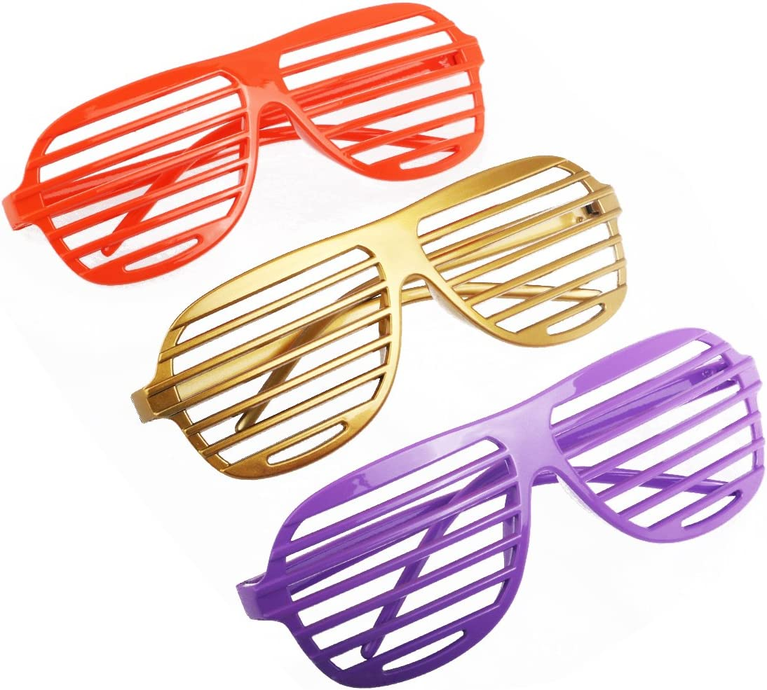 Fashion Plastic Shutter Shades Glasses Sunglasses Eyewear Halloween Club Party Cosplay Props 12 Pairs (Mixed Color)