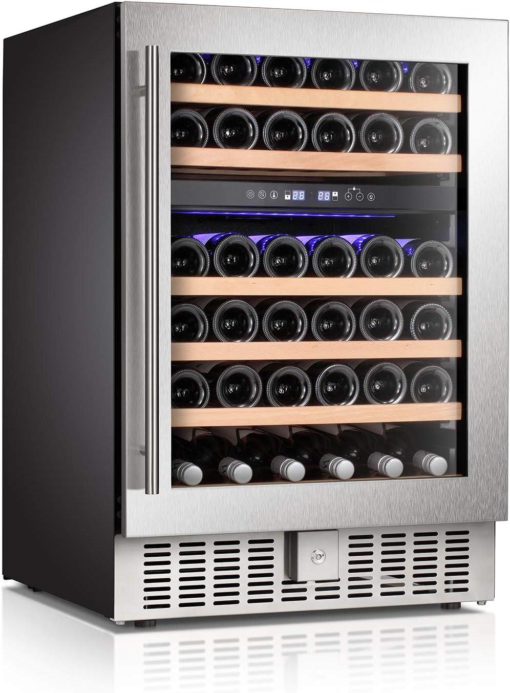 Antarctic Star Wine Cooler Refrigerator Fridge 46 Bottles Dual Zone Wine Cellar Built-in Freestanding Wine Chiller with Stainless Steel &Digital Memory Temperature Control/Wood Shelves/Silver
