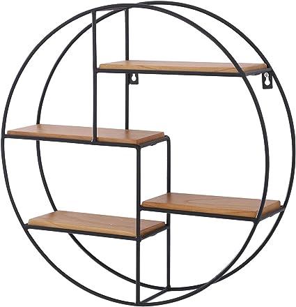 Homcom - Estantería Redonda de Pared, Estilo Vintage, 4 estantes, Color Negro y Madera Natural, diámetro 45 x diámetro 11 cm