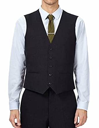 Black men's waistcoat 44